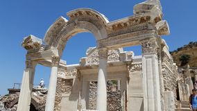 Details of Hadrians Temple. The temple Hadrian made for his gay lover showing his affection in Ephesus city in Turkey Royalty Free Stock Images