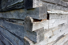 Details of a hand-crafted log cabin. Stock Photo