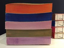 Details of handmade books of different multi colored papers. Notebooks. Details of handmade books of different multi colored papers. Colorful notebooks royalty free stock photo