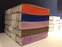 Details of handmade books of different multi colored papers. Notebooks. Details of handmade books of different multi colored papers. Colorful notebooks royalty free stock image
