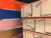 Details of handmade books of different multi colored papers. Notebooks. Details of handmade books of different multi colored papers. Colorful notebooks royalty free stock photos