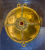 Details harness -Breast phalars .1 century AD. Gold, almandine,. AZOV, RUSSIA- SEPTEMBER 20- Details harness -Breast phalars .1 century AD. Gold, almandine stock image