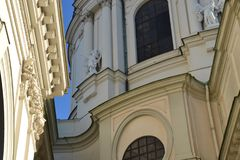 Karlskirche Wien. Details of historical and one of the most famous buildings in Vienna Stock Photos