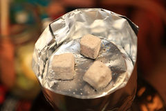 Details of hookah coals Royalty Free Stock Photography