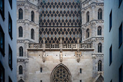 Details of houses and Stephansdom in Vienna. Royalty Free Stock Photos