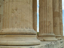 Details of huge Ionic column bases of The Erechtheion, ancient temple on the Acropolis of Athens Royalty Free Stock Image