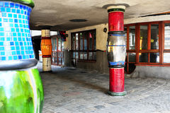 Details of Hundertwasser house in Vienna Royalty Free Stock Photos