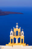 Details of Imerovigli village architecture overlooking the Santorini caldera Stock Images