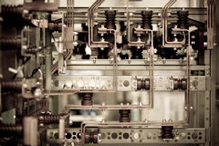 Details of industrial machinery. Closeup of complicated industrial machinery royalty free stock photo
