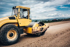 details of industrial roadworks with tandem roller and vibratory soil compactor Royalty Free Stock Images