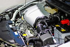 Details inside of a private car engine. Select focus.  stock photos