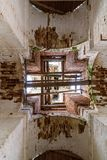 Details of the interior of the destroyed Orthodox Church of St. Nicholas in the forests of the Kostroma region. Details of the interior of the bell tower of the Royalty Free Stock Photography