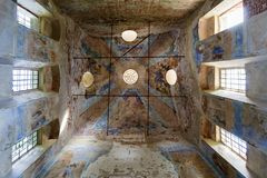 Details of the interior of the destroyed Orthodox Church of St. Nicholas in the settlement of Unzha. Details of the interior of the destroyed Orthodox Church of Royalty Free Stock Images