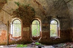 Details of the interior of the destroyed Orthodox Church of St. George the Victorious in the forests of the Kostroma. Region Royalty Free Stock Photography