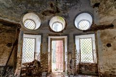 Details of the interior of the destroyed Orthodox Church of St. Nicholas in the forests of the Kostroma region.  Stock Photos