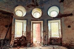 Details of the interior of the destroyed Orthodox Church of St. Nicholas in the forests of the Kostroma region stock photos