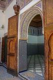 Details of interior of El Bahia palace, Marrakech, Morocco. Marrakesh, Morocco - May 3, 2017:   Details of interior of El Bahia palace, Marrakech, Morocco Royalty Free Stock Photography