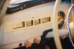 Details of interior and exterior of the retro car Stock Photo