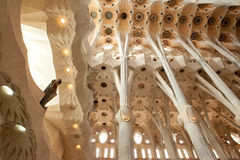 Details of the interior, unique columns, order, arch sklptura of thte Sagra de Familia Cathedral jf Antonio Gaudi Stock Photos