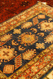 Details of intricate blue patterns in Turkish carpets Stock Photos