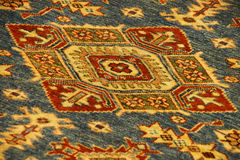 Details of intricate blue patterns in Turkish carpets Stock Images