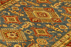 Details of intricate blue patterns in Turkish carpets Royalty Free Stock Image