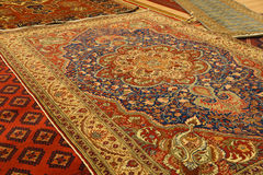 Details of intricate blue patterns in Turkish carpets Royalty Free Stock Photos
