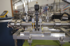 Details of ION accelerator. View of Important electronic and mechanical parts of ION Accelerator, CNC machined parts,  selective focus, tilt shift lens Stock Image