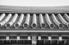 Details of Japanese temple roof architecture (black and white) Stock Photos