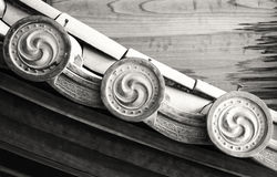 Details of Japanese temple roof architecture (black and white) Royalty Free Stock Image