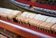 Details of a keyboard of an old piano. stock photo