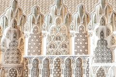 Details King Hassan II Mosque, Casablanca, Morocco. Carved marble inside King Hassan II Mosque in Casablanca, Morocco Stock Images