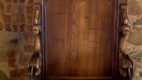 The details of the kings chair from the old castle GH4 4K UHD. The details of the kings chair from the old castle in Trakai Lithuania very well crafted and wood stock video