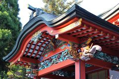 Details of the Kirishima Jingu shrine architecture Royalty Free Stock Photography