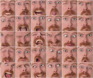 Details of large facial expressions Stock Photography