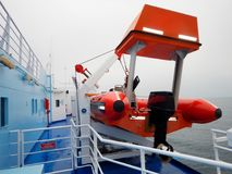 Details and life boat on ferry boat deck.  Stock Photography