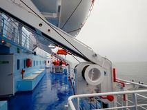 Details and life boat on ferry boat deck.  Stock Photo