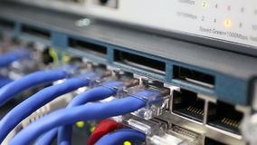 Details from loaded and working network switch stock video footage