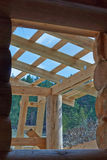 Details of a log home under construction. Stock Image