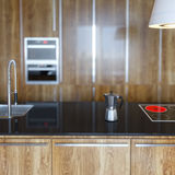 Details of Luury Wooden Kitchen Cabinet Royalty Free Stock Photography