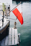 Details of luxury yacht. Docked at Sopot Pier, Baltic Sea Royalty Free Stock Image