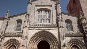 Cathedral of Lamego. Details of the main facade of the Cathedral of Lamego, Portugal stock footage