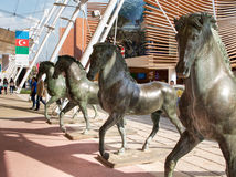 Details Main street of Expo 2015 - Horse sculptures Stock Images