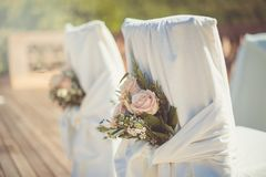 White wedding chairs for the ceremony royalty free stock photography