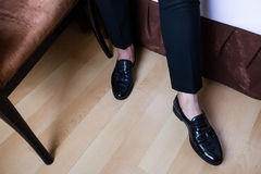 Details man in black pants and shoes Royalty Free Stock Photo