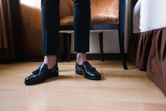 Details man in black pants and shoes Royalty Free Stock Photography