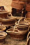 Details of the manufacturing of wicker baskets Stock Photography