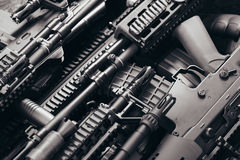 Details of many  confiscated modern rifles supplied smuggled. de Royalty Free Stock Photo