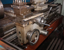 Details and mechanisms of the lathe closeup Stock Images