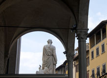 Details of Medieval buildings and monument to Dante Alighieri, Florence, Italy Stock Photography